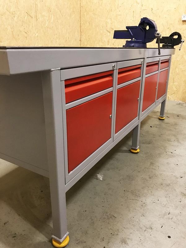 Świeże Ślusarski stół warsztatowy z imadłem i szafkami metalowymi - Żywiec XJ69