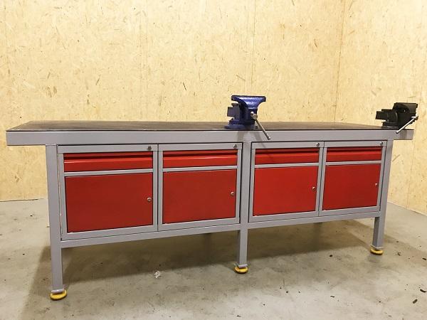 Cudowna Ślusarski stół warsztatowy z imadłem i szafkami metalowymi - Żywiec BS95