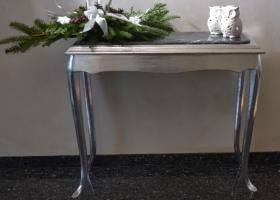 konsola srebrna barokowa marmur