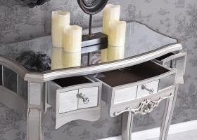 antyczna konsola w stylu glamour toaletka srebrna