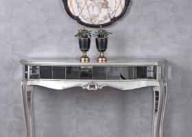 srebrna konsola glamour drewniana