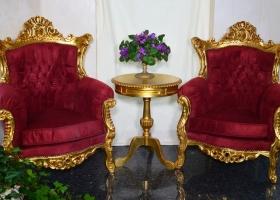 2 fotele stylowe barokowe złoto bordowe welur