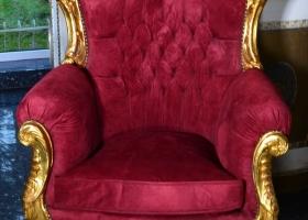fotel barokowy złoty bordowy