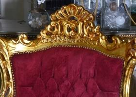 retro fotel ludwikowski złoto bordowy