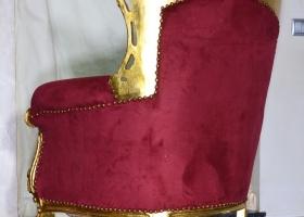 złocony stylowy fotel ludwikowski bordowa tapicerka