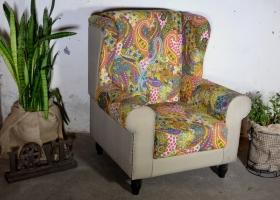 aranżacja fotela patchwork w stylu kolonialnym
