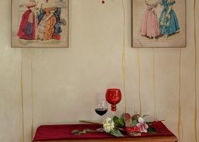 dekoracyjny obraz w stylu vintage z damą