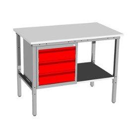 metalowy stół warsztatowy raconstruction z szafką kontenerową i półką
