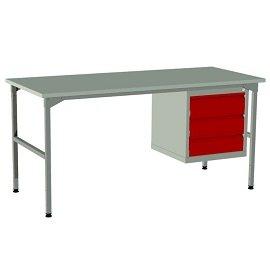 lekki stół warsztatowy raconstruction z szafką i 3 szufladami metalowymi