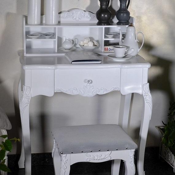 stylowe biurko sekretarzyk prowansalski biały drewniany