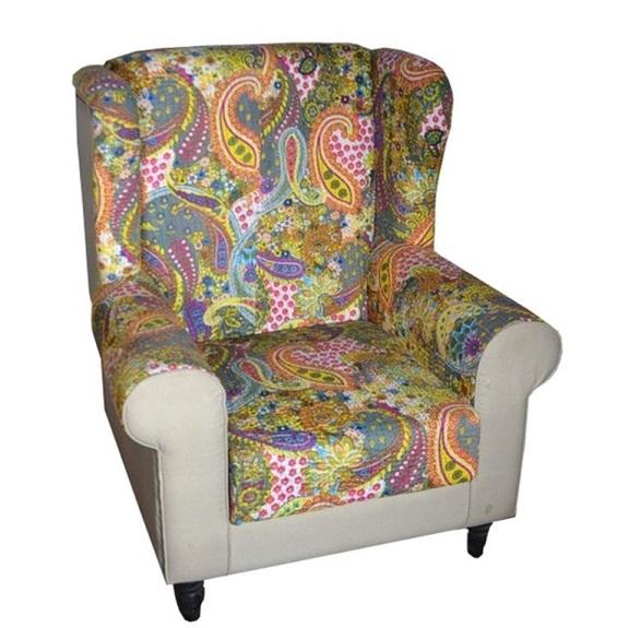 fotel stylowy patchwork boho kolonialny wzorzysta tapicerka