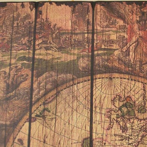 obraz mapa z drewna vintage