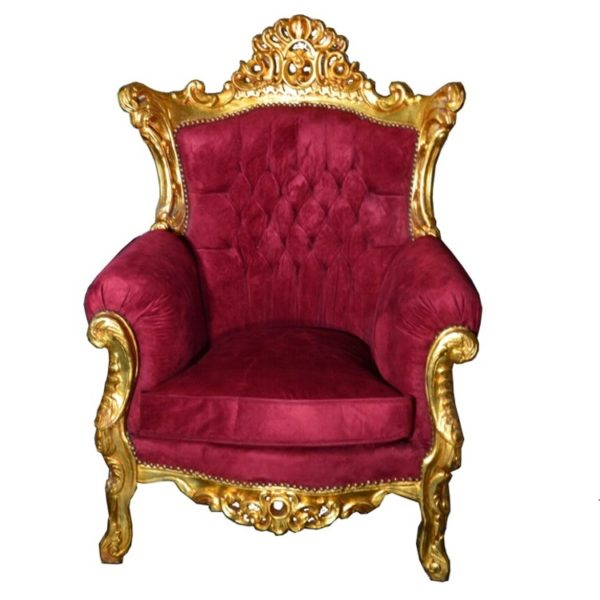 stylowy fotel ludwik barok złocony bordowa tapicerka