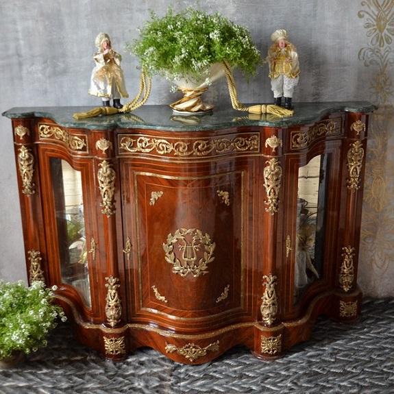 bufet barek komoda retro barokowa z marmurowym blatem