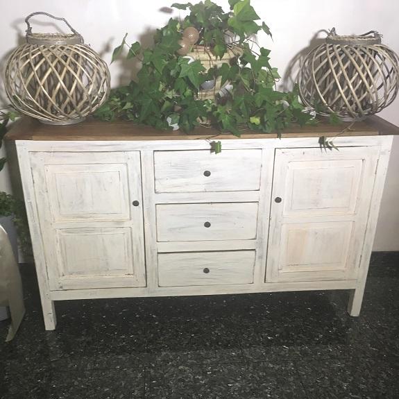 bufet komoda retro drewniana biała rustykalna