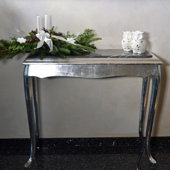 konsola barokowa z marmurem srebrna